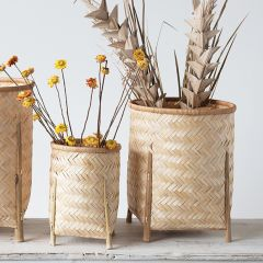 Bamboo Storage Basket With Legs Set of 4