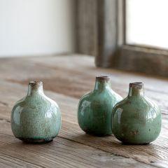 Glazed Stoneware Bud Vases Set of 3