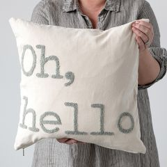 Oh Hello Embroidered Throw Pillow