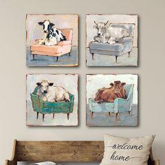 Lounging Cow Wall Art Aqua Hued
