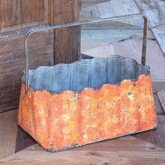 14 Inch Corrugated Tin Basket Planter