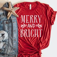 Merry And Bright Holiday Tee Shirt 2X
