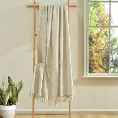 Boho Tufted Tassel Natural Throw Blanket