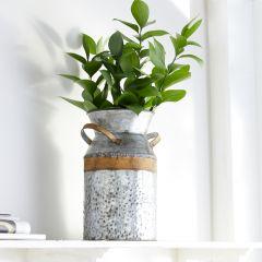 Galvanized Metal Milk Can Vase 9 Inch