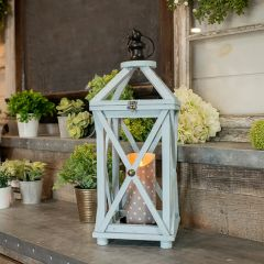 Chic Cottage Crossbar Candle Lantern Blue