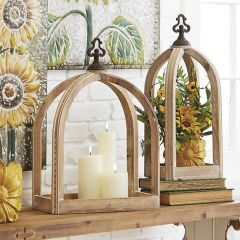 Rustic Wood Candle Lantern One of Each