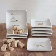 Stoneware Plates With Sayings Set of 12