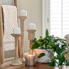 Carved Wood and Metal Pillar Holder Set of 6