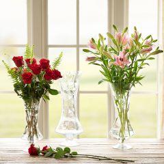 Etched Glass Pedestal Vase