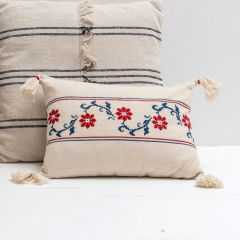 Tasseled Embroidered Accent Pillow