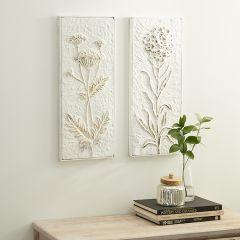 Floral Metal Wall Decor Panel Set of 2