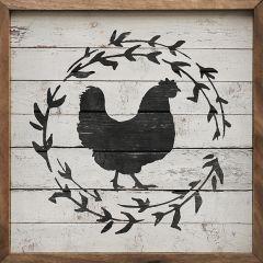 Chicken Wreath White Framed Wall Decor