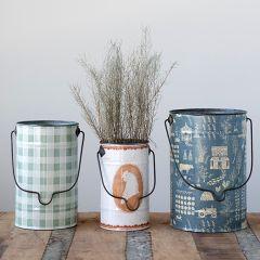 Patterned Metal Bucket Planter Set of 3