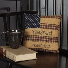 Farmhouse Patriotic Patch Throw Pillow