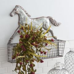Horse Accent Tin Wall Basket