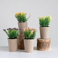 Faux Flowers in Paper Pots Set of 4