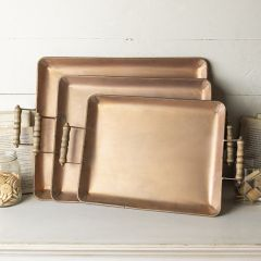 Decorative Metal Tray Collection Set of 3