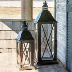 Crosshatch Lanterns Set of 2