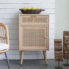 Retro Wood and Rattan Accent Cabinet