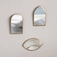 Wall Mirror in Metal Frame Set of 3