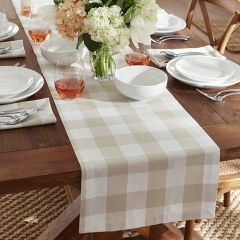Tan and White Buffalo Check Country Table Runner