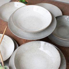 4 Piece Simple Ceramic Dinner Plate and Bowl Set