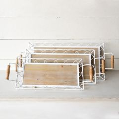 Wood And Metal Cottage Tray Set of 3