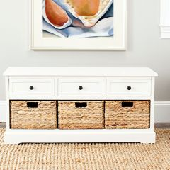 Bench With Wicker Baskets and Drawers