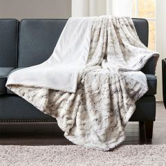 Faux Fur Oversized Throw Blanket Natural