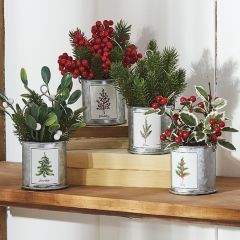 Holiday Botanical Ornament Set of 4