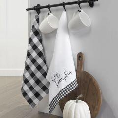 Hello Pumpkin Fall Checked Tea Towels Set of 2