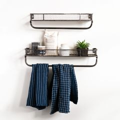 Metal Wall Shelf With Towel Bar Set of 2