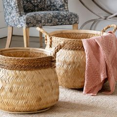 Natural Bamboo Nesting Baskets Set of 3