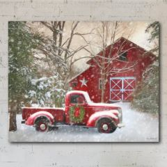 Snowy Barn Canvas Wall Decor