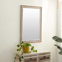 Beaded Wood Framed Rustic Wall Mirror