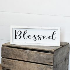 Distressed Tin Blessed Framed Sign
