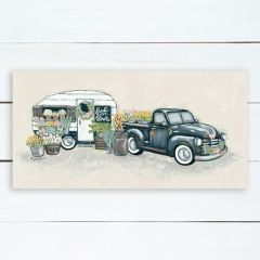 Floral Truck With Camper Wall Art