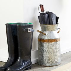 Galvanized Metal Milk Can Vase 14 Inch