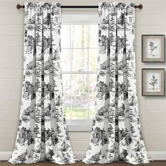 French Country Toile Room Darkening Curtain Panel Set of 2