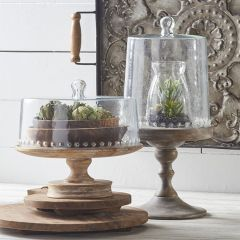 Wooden Cake Stand With Glass Lid