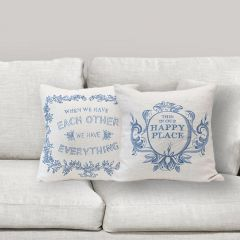 Embroidered Throw Pillow With Saying Set of 2