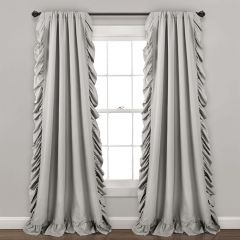 Simple Elegance Ruffled Curtain Panel Set of 2