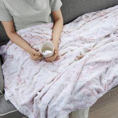 Faux Fur Oversized Throw Blanket Blush