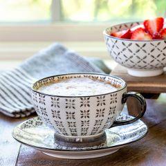 Patterned Ceramic Cappuccino Mug Set of 4