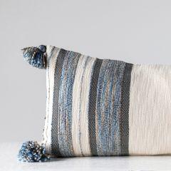 Striped Cotton Blend Lumbar Pillow
