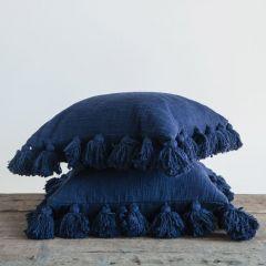 Dark Cotton Pillow With Tassels