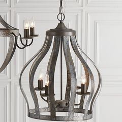 4 Arm Fluted Cage Chandelier