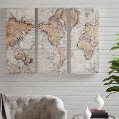 World Map Panels Set of 3