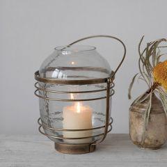 Handled Brass Finish Candle Lantern