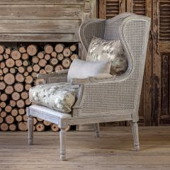 French Country Cane Wingback Arm Chair